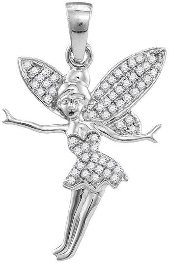 Amazon 10k white gold diamond tinkerbell fairy necklace pendant 10k white gold diamond tinkerbell fairy necklace pendant 14 ctw aloadofball Gallery