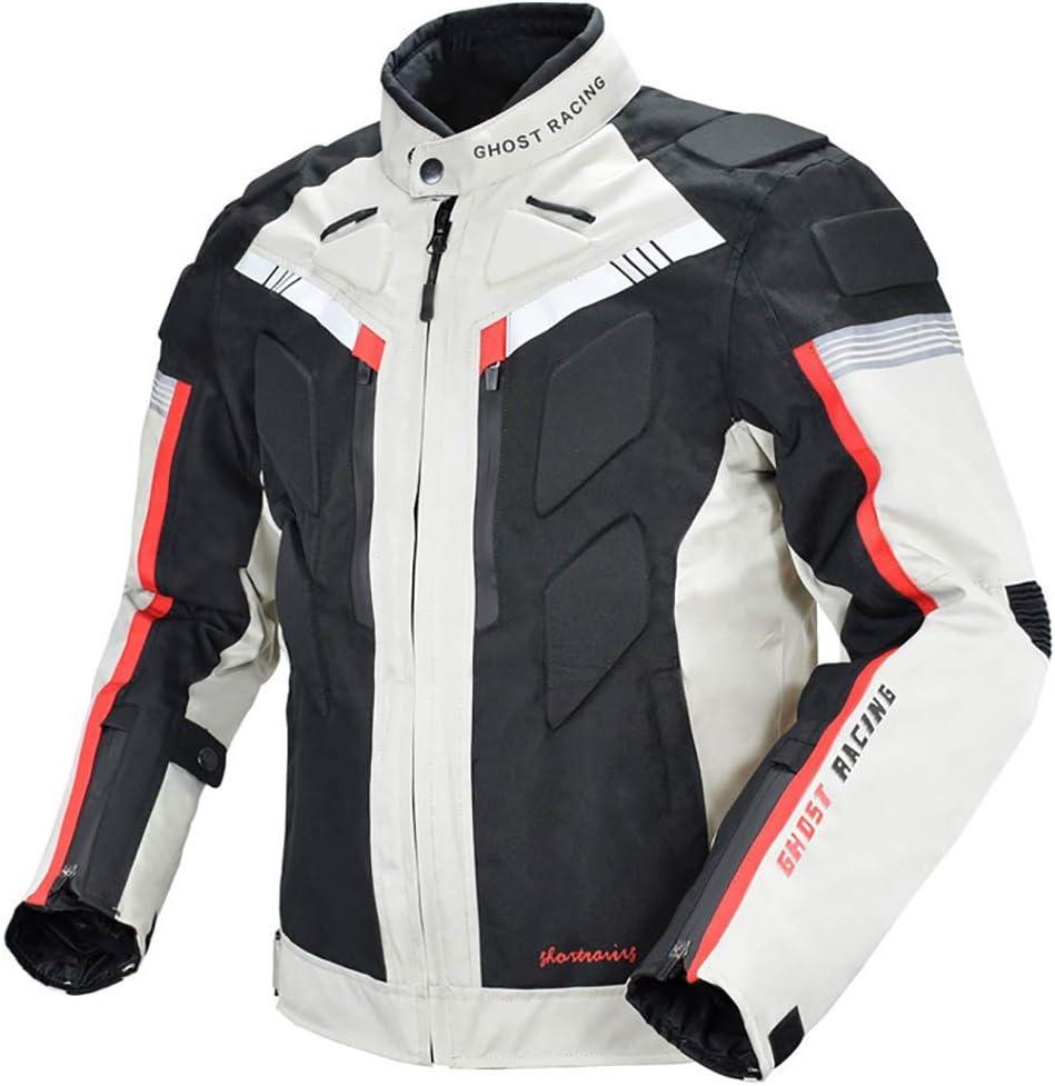 LALEO Chaqueta de Moto, Cuatro Estaciones Impermeable Resistente con Forro Cálido Extraíble Armours y Reflexivo Chaqueta para Motocicleta M-3XL Blanco Negro