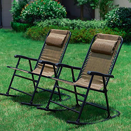 LOKATSE HOME Outdoor Patio Folding Zero Gravity Rocking Chair Set with 2 Portable Camping Recliners, Brown ()