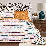 Lush Decor 2 Piece Umbria Quilt Set, Twin, Tangerine