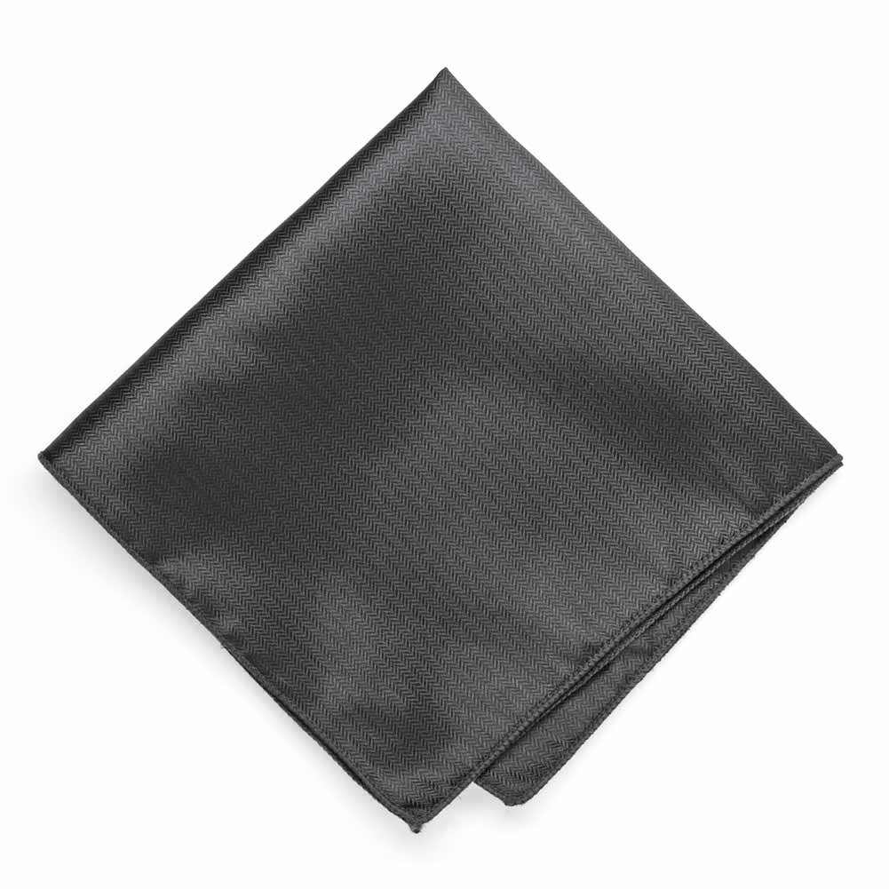 TieMart Graphite Gray Herringbone Silk Pocket Square