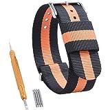 Fibbia cinturino orologio Randon Premium fasce in nylon balistico nato in acciaio inossidabile, scelta di colore & larghezza (20 mm, 22 mm, 24 mm).