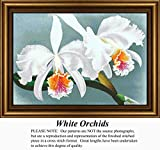 White Orchids, Flower Counted Cross Stitch Pattern (Pattern Only, You Provide the Floss and Fabric)