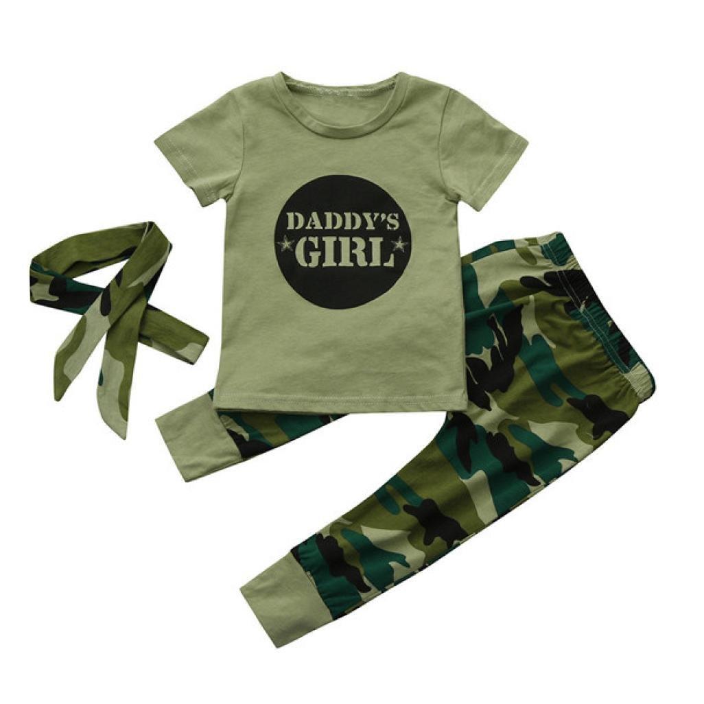 Ropa Bebé ❤️ Amlaiworld 3Pcs Recién nacido bebé niñas Carta Tops + Pantalones de camuflaje + diadema Conjunto de trajes de ropa 6 Mes - 2 Años Amlaiworld 1