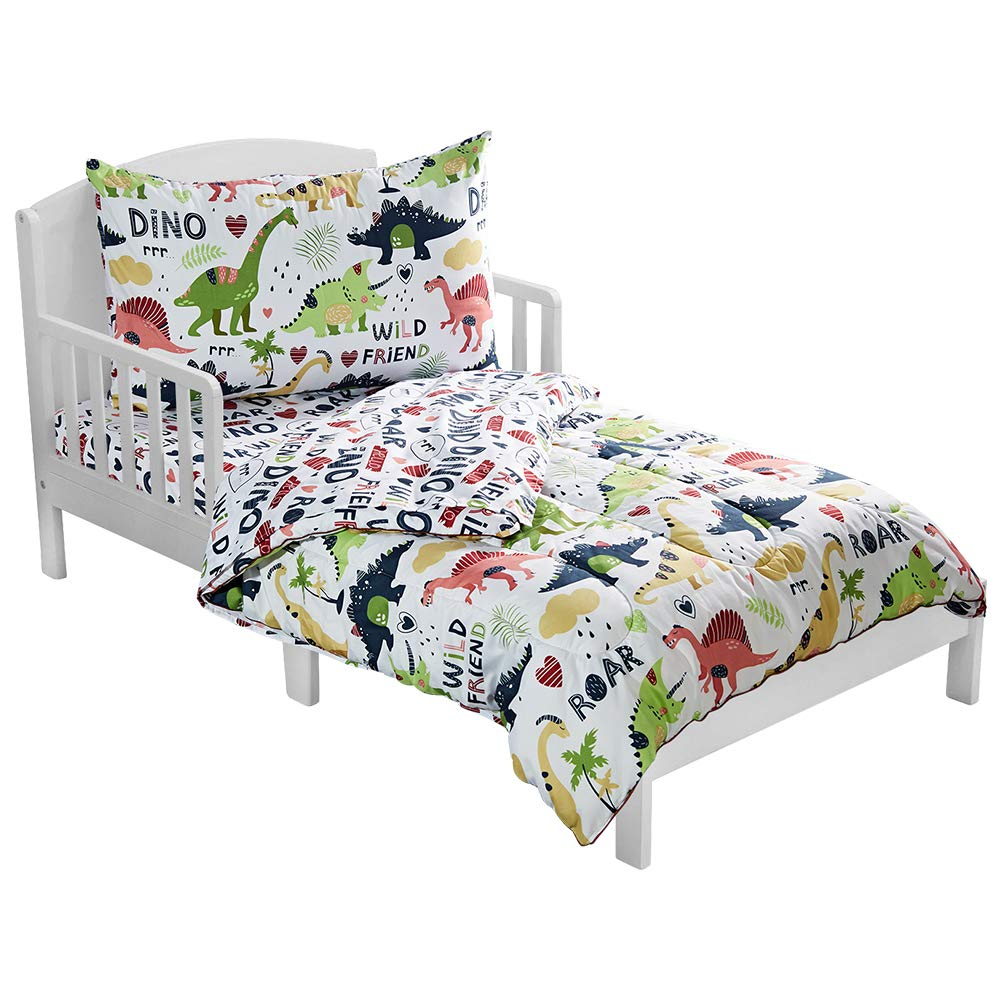 LANGRIA 4-Piece Dinosaur-Themed Toddler Bedding Set for Boys & Girls, Cartoon Print Style Kids Bed Set Includes Microfiber Comforter, Flat Sheet, Fitted Sheet and Reversible Pillowcase, Standard Size by LANGRIA