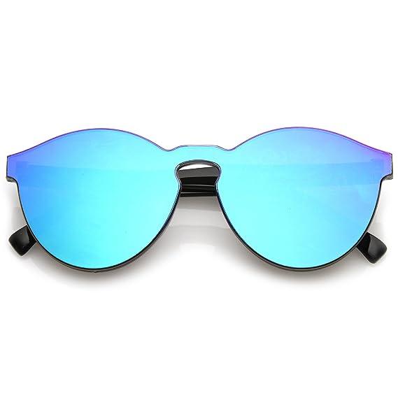 31724c4b3bd21 Amazon.com  zeroUV - One Piece PC Lens Rimless Ultra-Bold Colored Mirror Mono  Block Sunglasses 60mm (Green Mirror)  Clothing