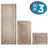 mDesign Soft Microfiber Non-Slip Bathroom Mat/Rug for Bathroom, Vanity, Bathtub/Shower, Dorm Room - Set of 3, Linen