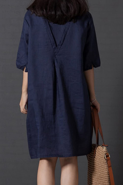 ab53272656 Women Tunic Dress Plus Size Vintage Round Neck Embroidered Cotton Linen  Dresses at Amazon Women s Clothing store