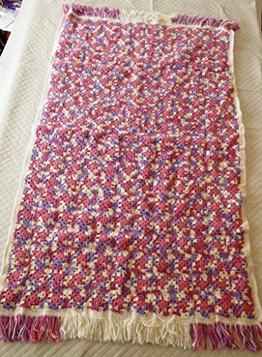 Afghan Handmade Crochet Granny Square Pink Girl Crib Baby Throw Blanket