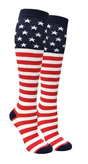 204fc60e3 Image Unavailable. Image not available for. Color  Women s Knee High Red  White Blue Stars   Stripes American Flag Patriotic Socks