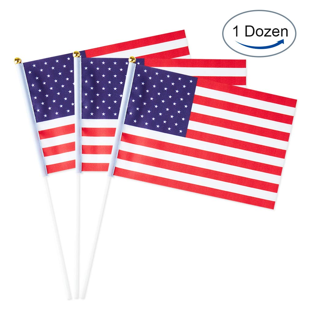 12 Pack USA Flag American Small Stick Mini Hand Held Flags Decorations 1 Dozen
