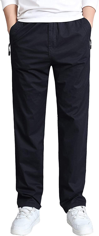Gmardar Pantaloni Uomo Elegante con Tasche Laterali Zip Elastica Vita Cotone Dritti Larghi Fit Casual Regular Taglie Forti Diversi Colori