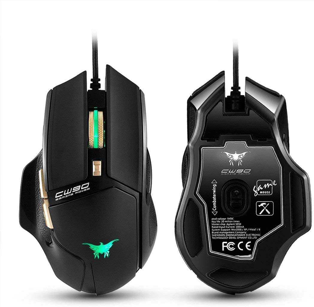 Wang5995 Office Home Mouse 3800 DPI Wired Gaming Mouse Mice 6 Buttons Design Breathing LED Colors for Gamer PC MAC