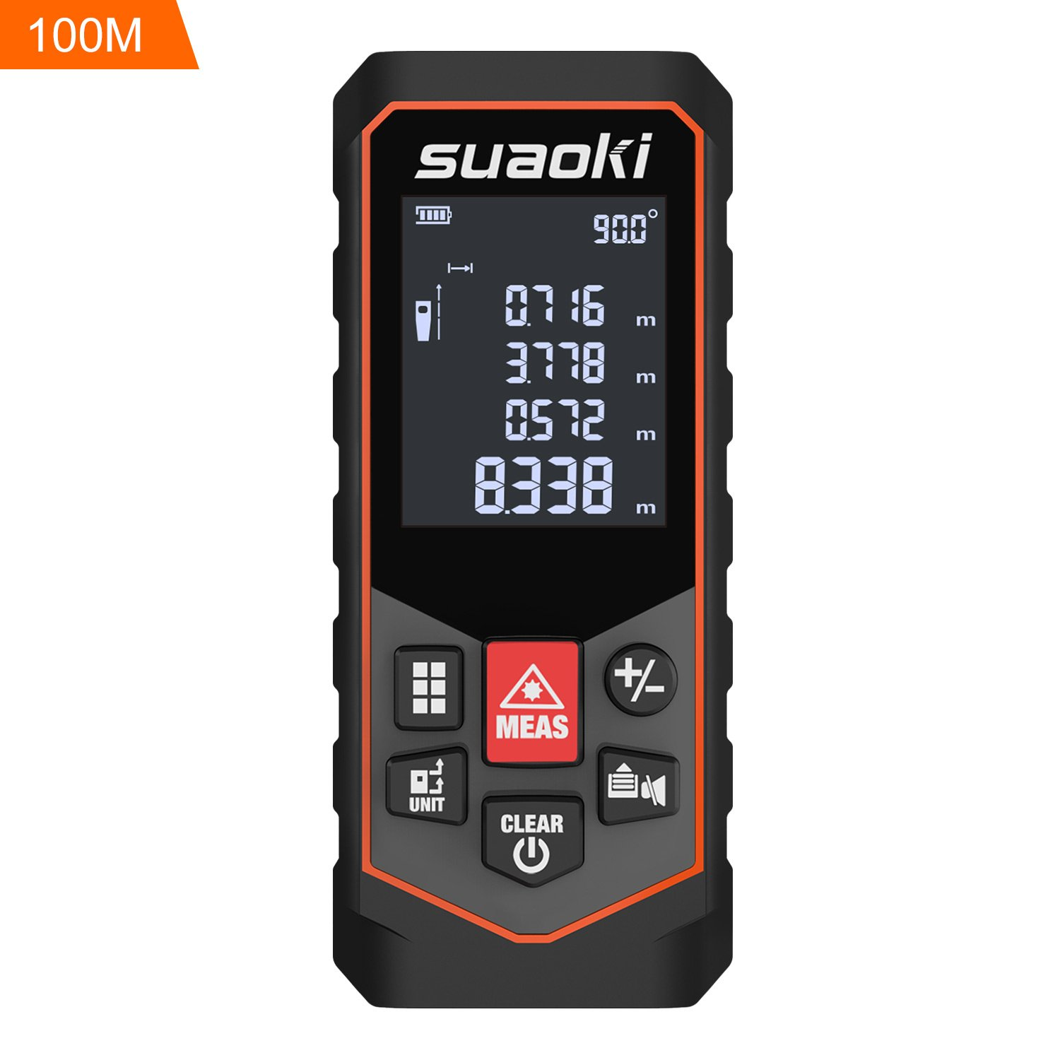 Suaoki S7 Laser Measure 328Ft Laser Distance Meter with Mute Function for Distance Area Volume Pythagorean Calculation, Batteries Included