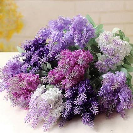 lyhhai Ramo de Flores Artificiales de Lavanda y Seda Boda, casa ...