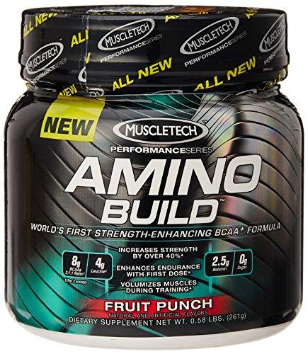 Muscletech Amino Build, Fruit Punch, 30 portion, à chaîne ramifiée acides aminés (BCAA) Supplément avec bétaïne 0,58 LBS.