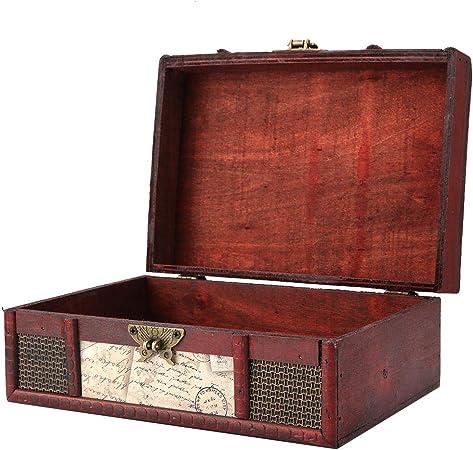 FTVOGUE - Caja de almacenamiento de madera estilo vintage, tamaño grande, libro, joyas, almacenamiento de almacenamiento, organizador para cofre del tesoro, decoración de casa, #3: Stamp: Amazon.es: Hogar