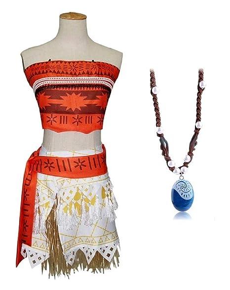 Disfraz Vaiana Moana para niña con collar para disfraz de ...