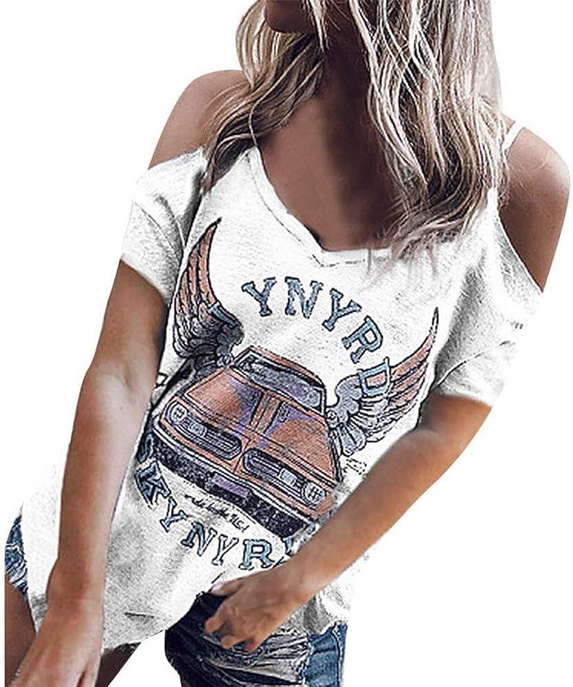 Camisetas Mujer Verano,Camiseta Casual de Manga Corta de Hombros Descubiertos Mujer con Cuello en V Blusa Suelta de impresión de la Letra Tops Mujer Verano por Lunule