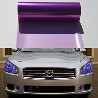 12 by 48 Inches Self Adhesive Headlight, Tail Lights, Fog Lights Tint Vinyl Film (12 X 48, Purple): Automotive