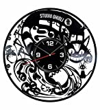 Studio Ghibli Wall Clock Made of Vintage Vinyl Records - Stylish clock and Amazing Gifts Idea – Unique Home Decor – Personalized Presents for Men Women Kids – Great for Living Room Bedroom Kitchen