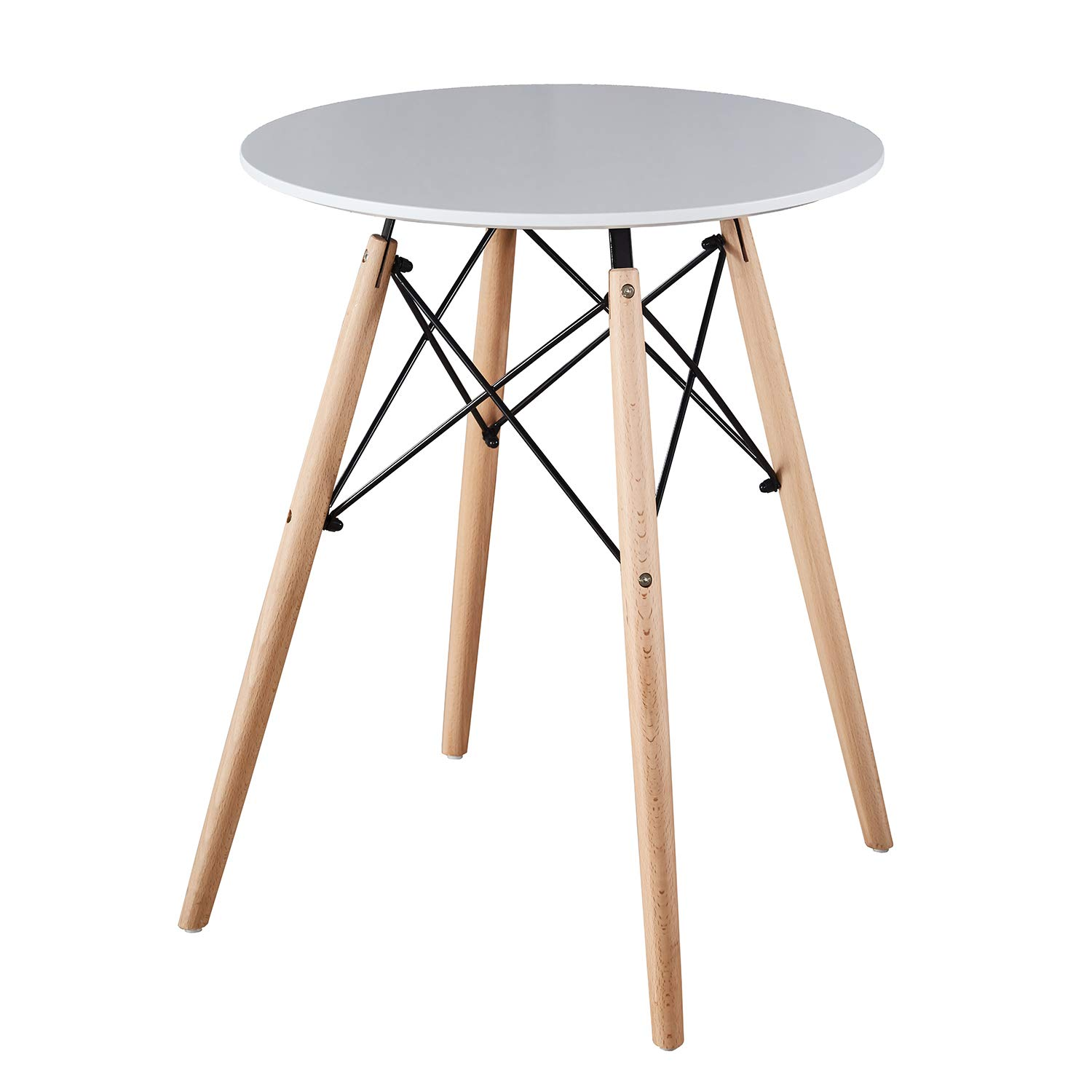 Mid Century Modern Eames Style Circular Kitchen Dining Table Office Conference Desk Round Coffee Table Leisure Wood Tea Table with Natural Solid Wooden Legs and MDF top(Diameter 60CM, White)