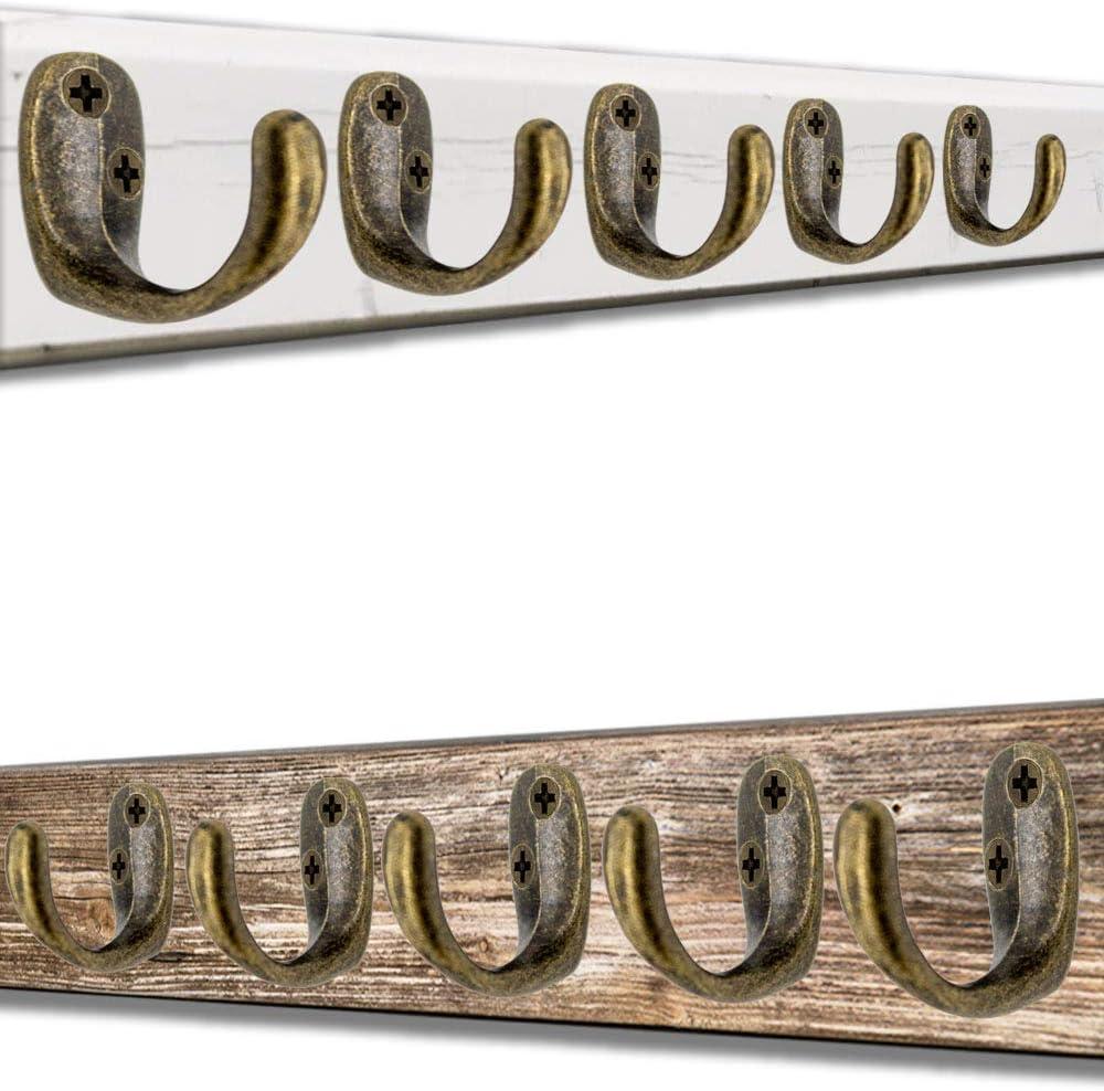 5er Set Vintage Landhaus Retro Garderoben-Haken Antik-Haken Handtuch-Haken Kleider-Haken FUXXER/® Oval Eisen-Haken Messing Bronze Design