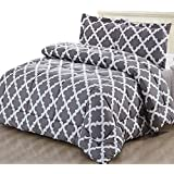 printed comforter set grey queen with 2 pillow shams luxurious soft brushed microfiber goose down alternative comforter by utopia bedding