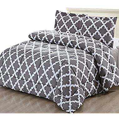 Printed Comforter Set (Grey, Twin) with 1 Pillow Sham - Luxurious Soft Brushed Microfiber - Goose Down Alternative Comforter by Utopia Bedding
