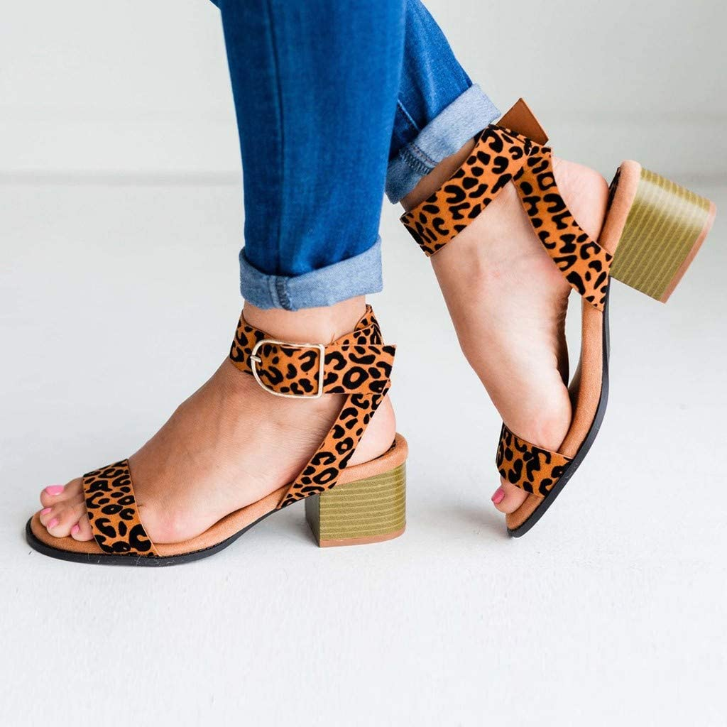 Womens Summer Buckle Strap Sandals Casual Slip on Square Heels Open Toe Breathable Sandals Retro Soft Sole Shoes