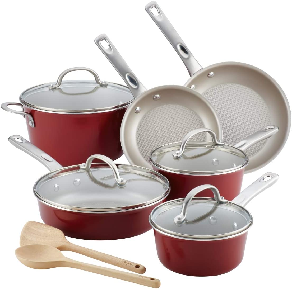 Ayesha Curry Home Collection Porcelain Enamel Nonstick Cookware Set (Sienna Red, 12-Piece)