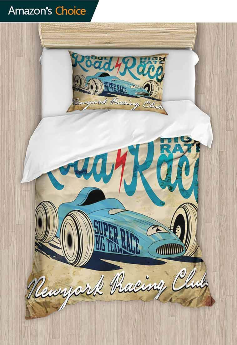 Cars Printed Quilt Cover and Pillowcase Set, New York Racing Club Race Car from Twenties Road Race Team Old School Cool Design, 3D Print 100% Polyester Fiber Quilt Cover & Pillowcases Aqua Sand Brown