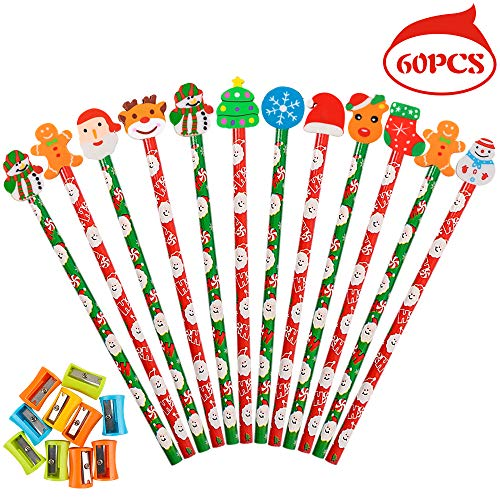 Haojiake 60 Pack Christmas Pencils with Eraser and 10 Pencil Sharpeners, 10 Assorted Shape Erasers, Prize for Kids, Teachers, Schools, Classroom Supplies and Christmas Party Favors