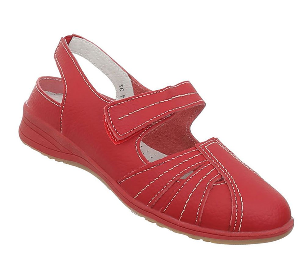 Damen Schuhe Sandalen Leder Klettverschluszlig;40 EU|Modell Nr1rot