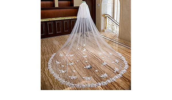 ODDINER Velo de Novia 4M Lace Edge White Ivory Cathedral Largo ...