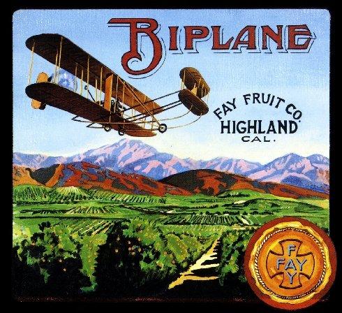 - A SLICE IN TIME Highland San Bernardino County Biplane Brand Orange Citrus Fruit Crate Label Art Print