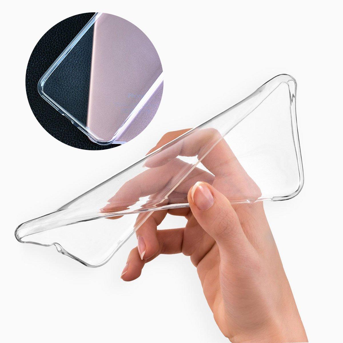 -Clear LJSM Cover per Xiaomi Redmi Go 5.0 Trasparente Morbido Clear Silicone Custodia Protettivo TPU Case per Xiaomi Redmi Go Pellicola Protettiva in Vetro Temperato