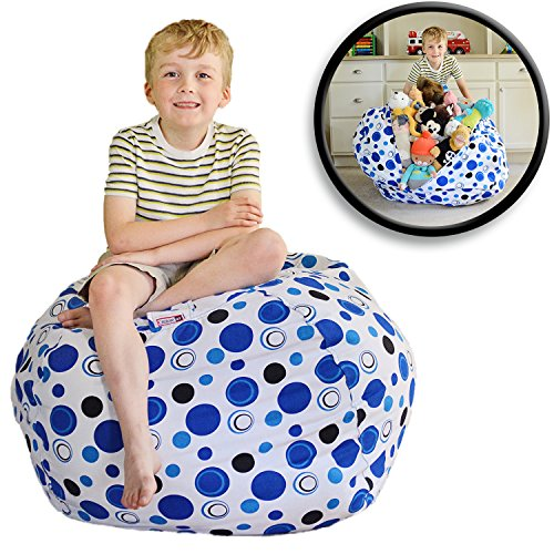 "EXTRA LARGE Stuff 'n Sit - Stuffed Animal Storage Bean Bag Cover by Creative QT - Available in 2 Sizes and 5 Patterns - Clean up the Room and Put Those Critters to Work for You! (38"", Blue Polka Dot)"