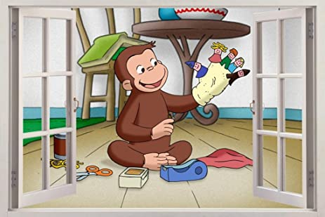 Amazon.com: Curious George 3D Window View Decal WALL STICKER Decor ...