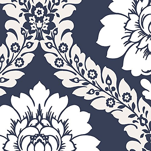 "Manhattan comfort NWSH34516 Manchester Series Vinyl Floral Damask Design Large Wallpaper Roll, 20.5"" W x 32.7'L, Navy Blue/White"