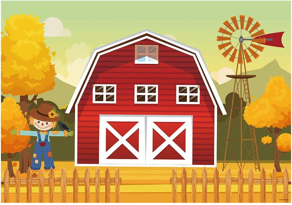 Zhy 7X5FT Farm Red House Backdrop Windmill ForeHaystack Carriage Boy Girl Birthday Baby Shower Photography Background Customized LLST093