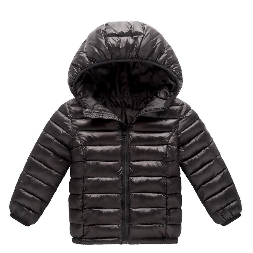 Little Kids Winter Warm Coat,Jchen(TM) Clearance! Baby Kids Little Boy Girl Autumn Winter Down Jacket Coat Hooded Zipper Keep Warm Children Outwear for 1-8 Years Old (Age: 7-8 Years Old, Black)