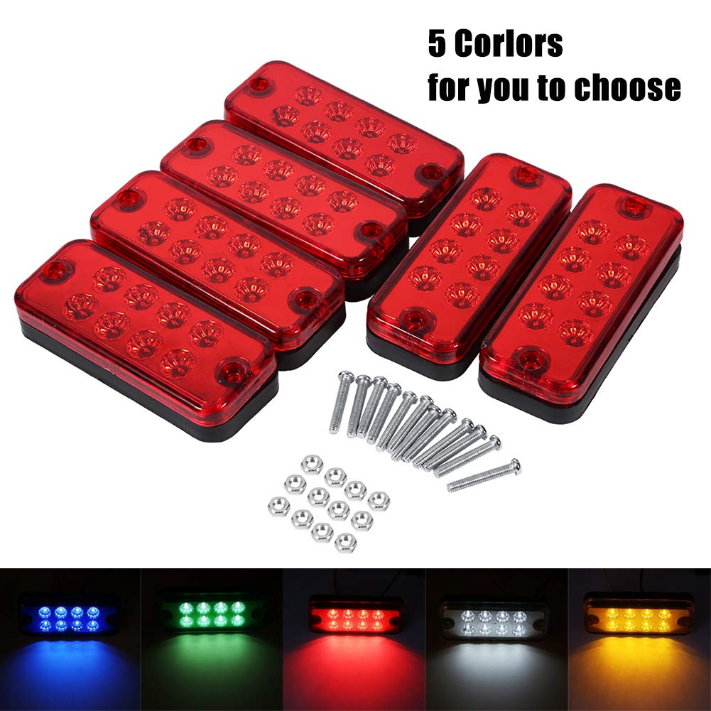 VGEBY 6Pcs 12V 8 LEDs Side Marker Light Lamp Truck Trailer Lorry Clearance Indicator Lamp (Color : Red)