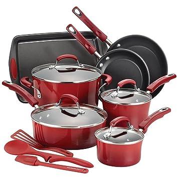 Rachael Ray rojo juego de esmalte duro. Batería de cocina antiadherente: Amazon.es: Hogar