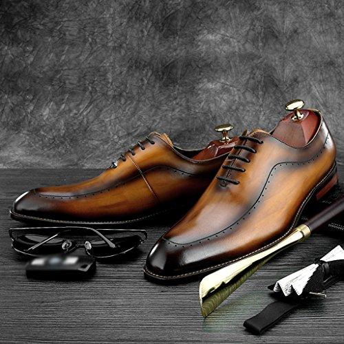 HWF Scarpe Uomo in Pelle Abiti da cerimonia a punta Scarpe Primavera di cuoio degli uomini di affari degli uomini di stile britannico Maschio (Colore : Nero, dimensioni : EU39/UK6) Marrone