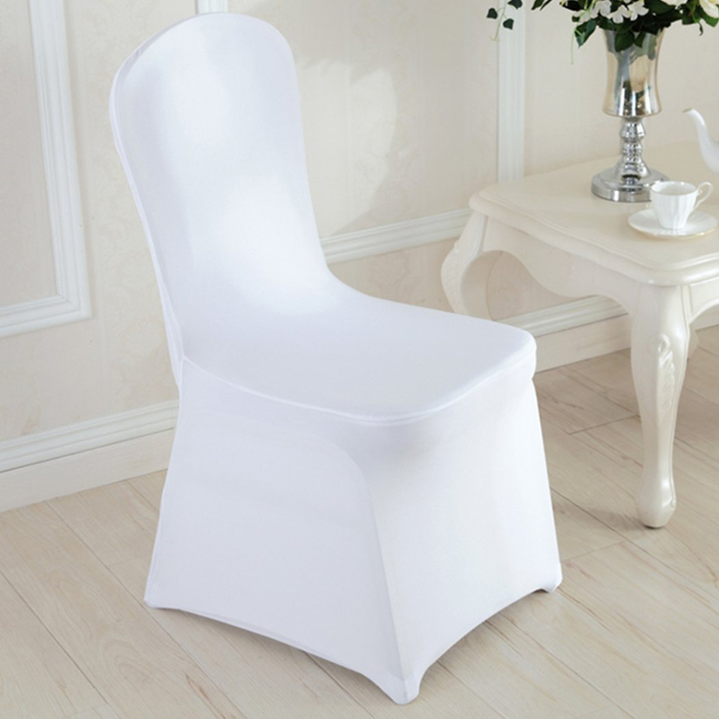 50Pcs Arched Front Folding Flat Chair Cover Stretchable Protector Slipcovers Wedding Party Banquet Dining Decoration