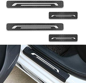 for Kia Forte Door Sill Protector Reflective 4D Carbon Fiber Sticker Door Entry Guard Door Sill Scuff Plate Stickers Auto Accessories 4Pcs White