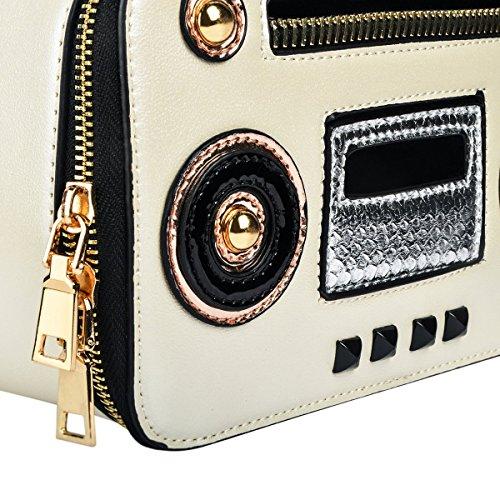 Radio Crossbody Tote Girls Fashionable Bag Bag Stylish Women Ustyle for Shaped White Satchel PwqqYp6I