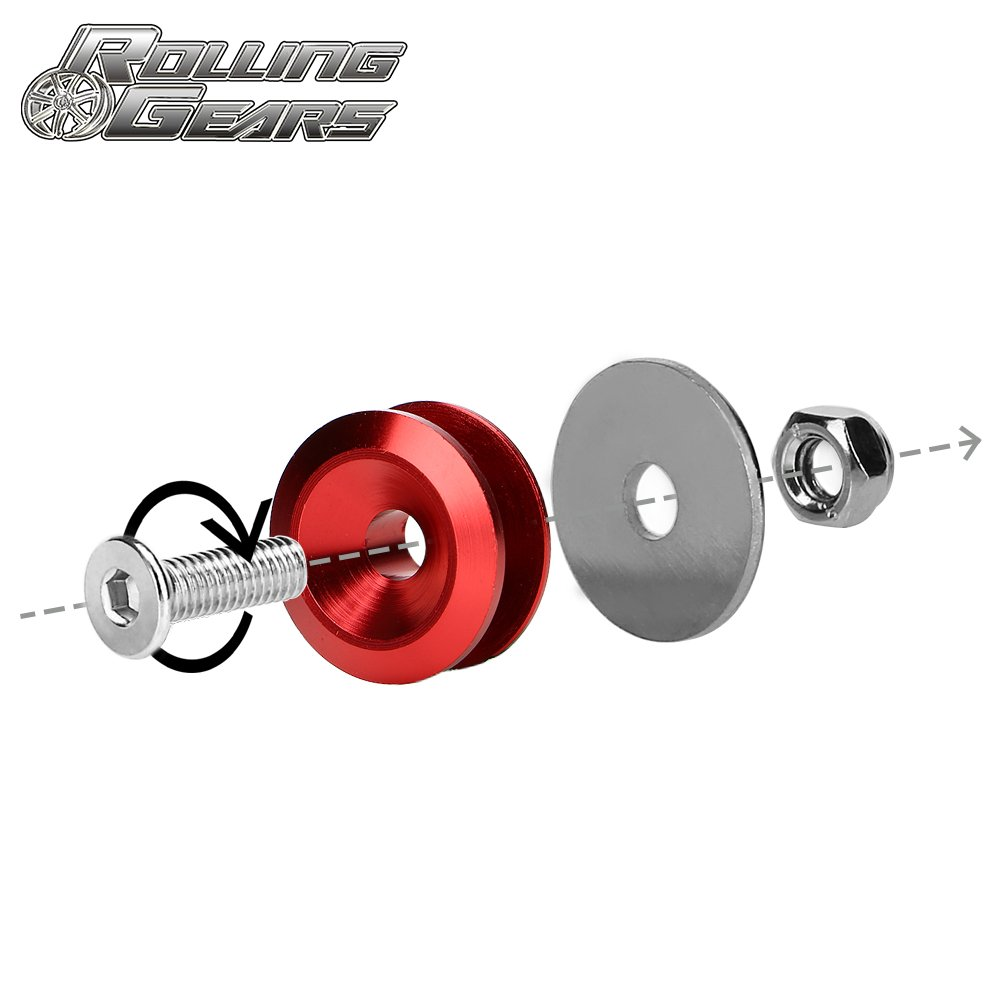 Neo Chrome Rolling Gears JDM Quick Release Fasteners Front Rear Bumpers Trunk Hatch Lid Kit
