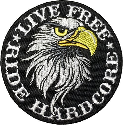 Papapatch LIVE FREE RIDE HARDCORE Eagle Hawk Biker Rider Chopper Jacket Costume Sewing on Iron on Embroidered Applique Patch (IRON-RIDE-HARDCORE-HAWK) ()